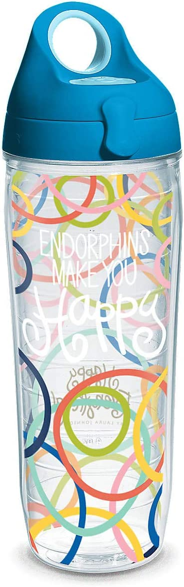 Tervis Happy Everything Endorphins Make You Happy Wrap with Lid Water Bottle 24 oz.
