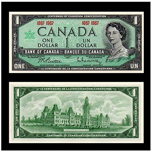 1967 CA SUPERB GEM 1967 CANADA CENTENNIAL $1 BILL w YOUNG QUEEN, OLD PARLIAMENT BLDG (BILINGUAL!) $1 Gem Crisp Unicrculated in New Mylar Holder