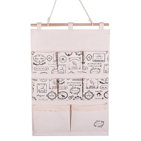 GudeHome Lino   algodón Tela puerta de la pared Organizador Vestidor bolsa  de almacenamiento caso 8 b30fcd1aef01