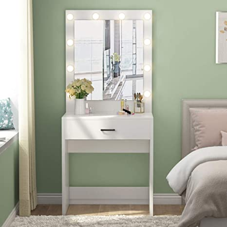 Tribesigns Vanity Set with Lighted Mirror, Makeup Vanity Dressing Table  Dresser Desk with Large Drawer for Bedroom, White (10 Warm LED Bulb)