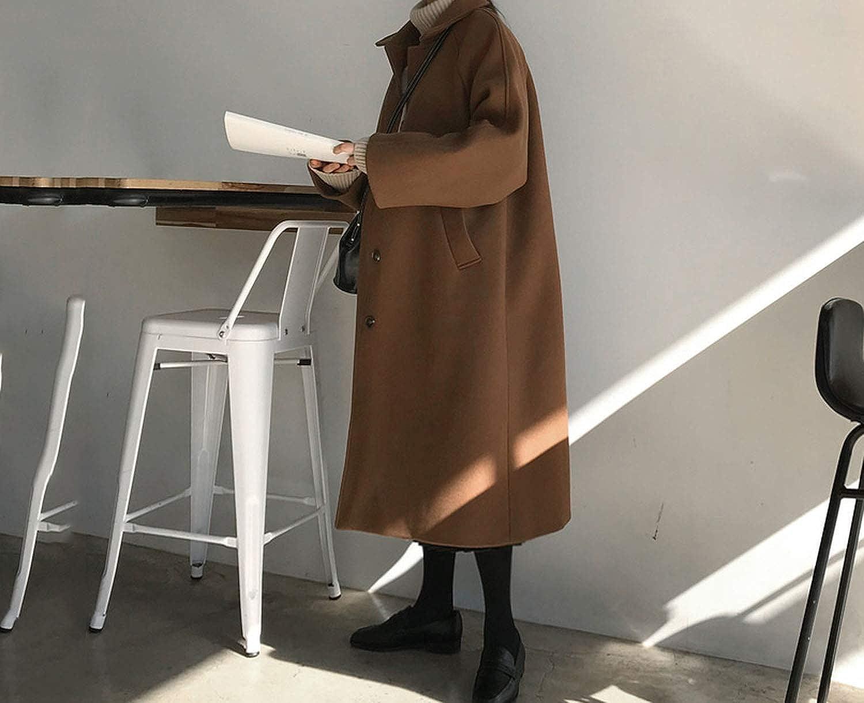 Women Woolen Coat Wild Casual Woolen Coat Winter Korean Style Long Coat Female,Coffee,One Size