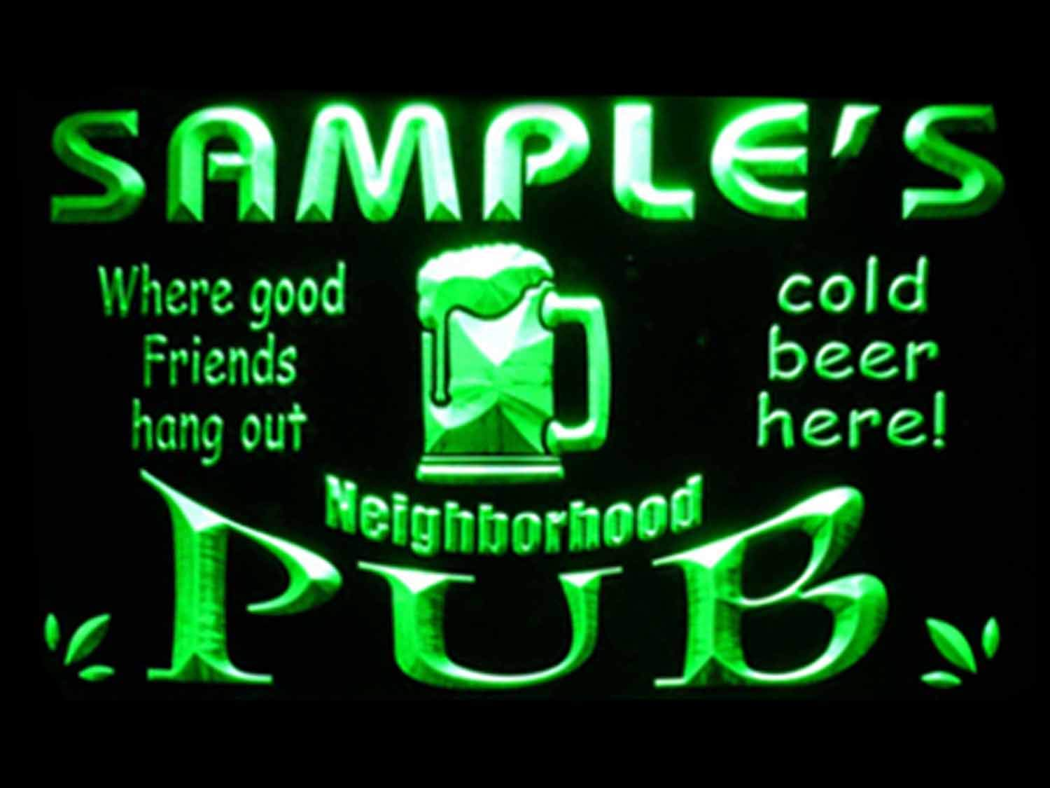 Name Personalized Custom Neighborhood Pub Bar Beer Neon Sign Green 16x12 inches st4s43-pg-tm-g by ADVPRO