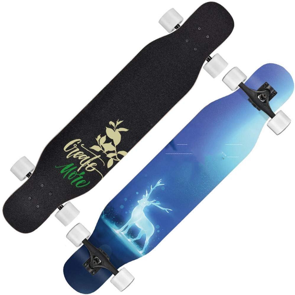エルクスケートボードフリースタイルロングボードスケートボード47 * 9.8インチデッキメープルダンスロングボード(大人用、男の子/女の子/ユースロード最大440ポンド) #1
