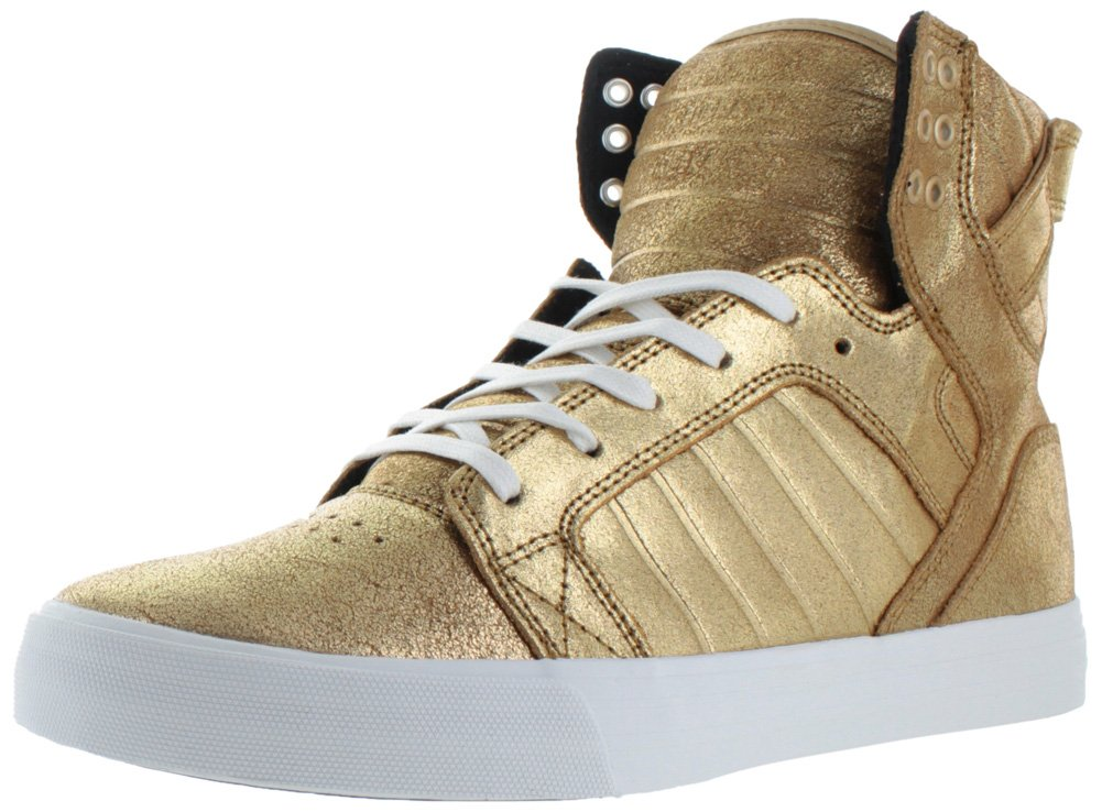 Supra Mens Skytop Shoes Size 10 Gold/Black-White