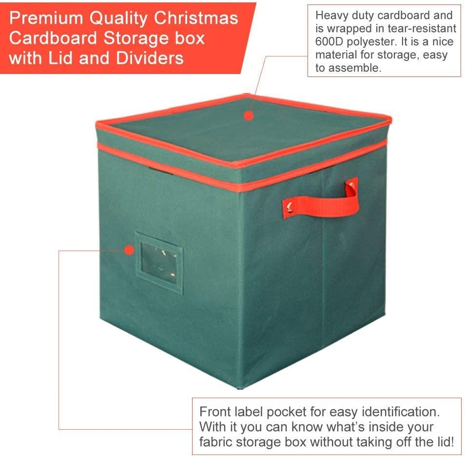 AYAMAYA Christmas Ornament Storage Box Containers Green Adjustable 64 Compartment Cube Organizer with Dividers Xmas Storage Chest Keeps Holiday Decorations Clean and Dry for Next Season 12x12x12
