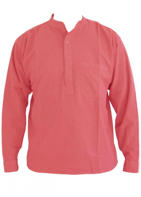Pink Grandad Collarless Shirt Cotton Sizes Small to 2XL