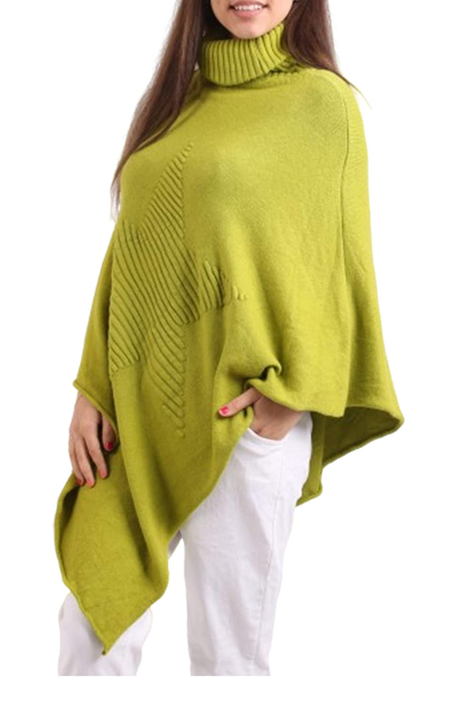 Donna Italiana Lagenlook Quirky Soft Knit Costed Star Polo Poncho Cape Wrap Caftan Maglione Top