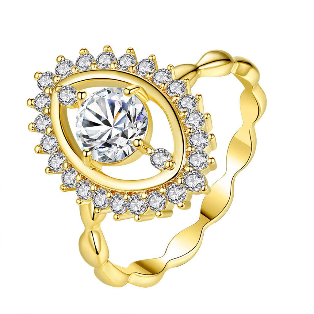 Coco-Z New Women Simple Luxurious Angel's Eye Micro-Inlaid Zircon Gold Couple Ring, Overseas Import Products Specialty Store