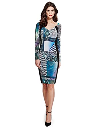 c34a5a190 Marks And Spencer Per Una Speziale contrast bodycon dress size 8-20   Amazon.co.uk  Clothing