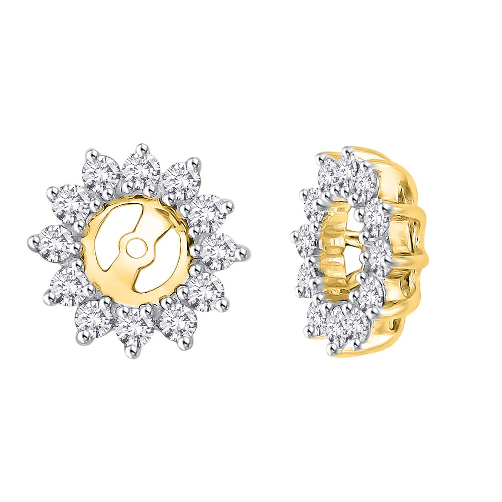Floral Diamond Earring Jackets in 10K Yellow Gold (1/2 cttw) (Color JK, Clarity I2-I3)