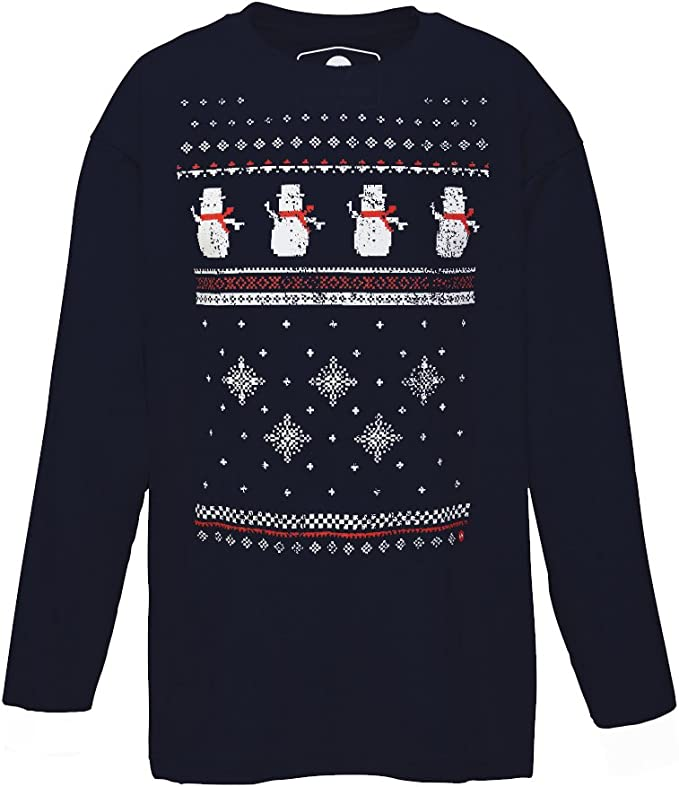 Mens Long Sleeved Snowman Tshirt Comfy alternative to the Christmas Jumper Charcoal Grey