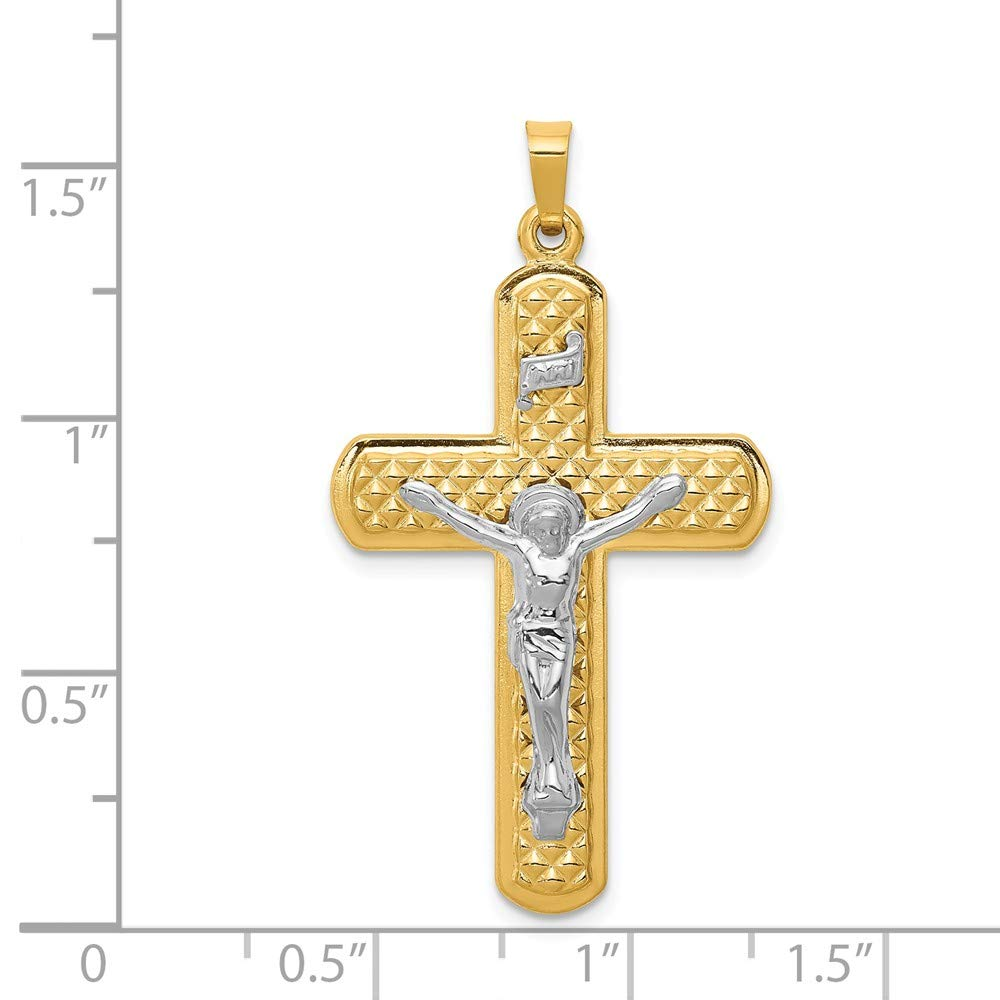 Mia Diamonds 14k Gold Two-tone Polished and Textured INRI Crucifix Pendant