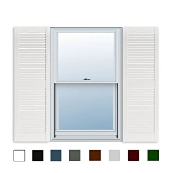 15 Inch x 51 Inch Standard Louver Exterior Vinyl Window Shutters, White  (Pair)