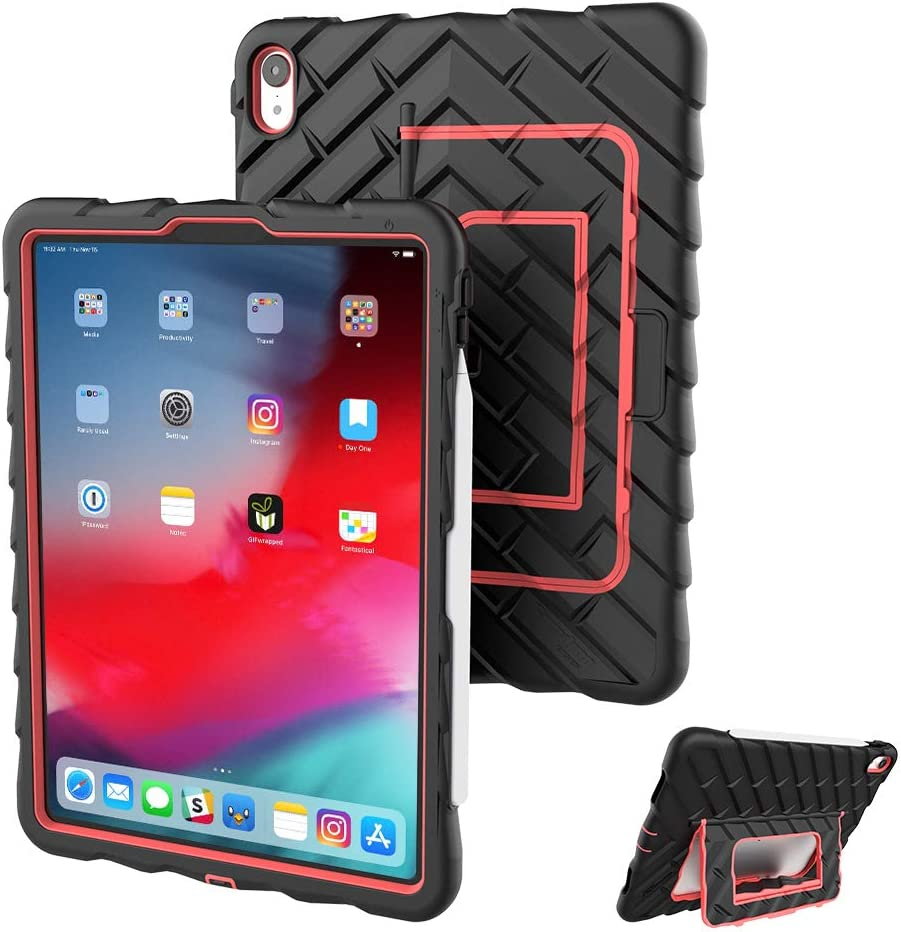 Gumdrop Hideaway Case Designed for The Apple iPad Pro 11 (2019) Tablet for K-12 Students, Teachers, Kids - Black/Red, Rugged, Shock Absorbing, Extreme Drop Protection