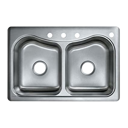 KOHLER K-3369-4-NA Staccato Double-Basin Self-Rimming Kitchen Sink ...