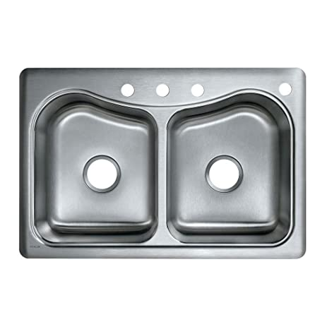 KOHLER K-3369-4-NA Staccato Double-Basin Self-Rimming Kitchen Sink ...