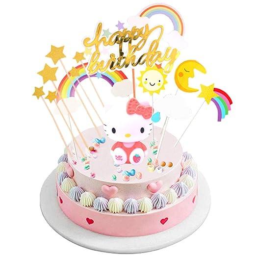 INTVN Cake Toppers Kit Decoración,Decoración para Tartas de cumpleaños,Cloud Rainbow Cake Decorations For Kids Girls Suministros para Fiestas