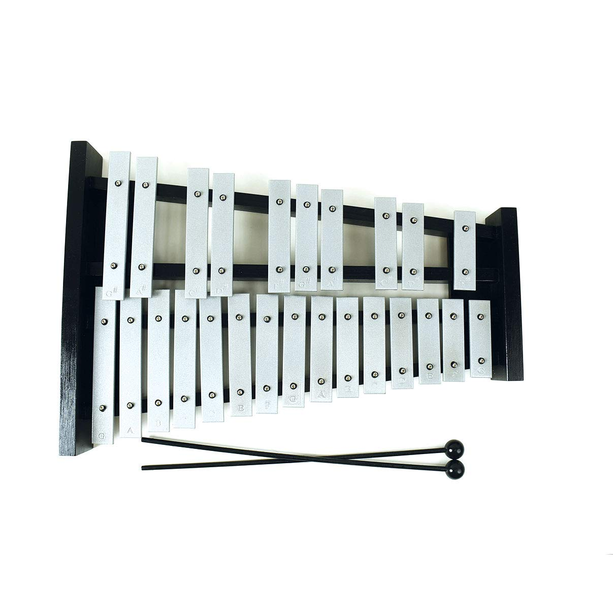 Professional Large Black Wooden Soprano Glockenspiel Xylophone with 25 Metal Keys for Adults and Kids - Includes 2 Plastic Beaters by Cara & Co
