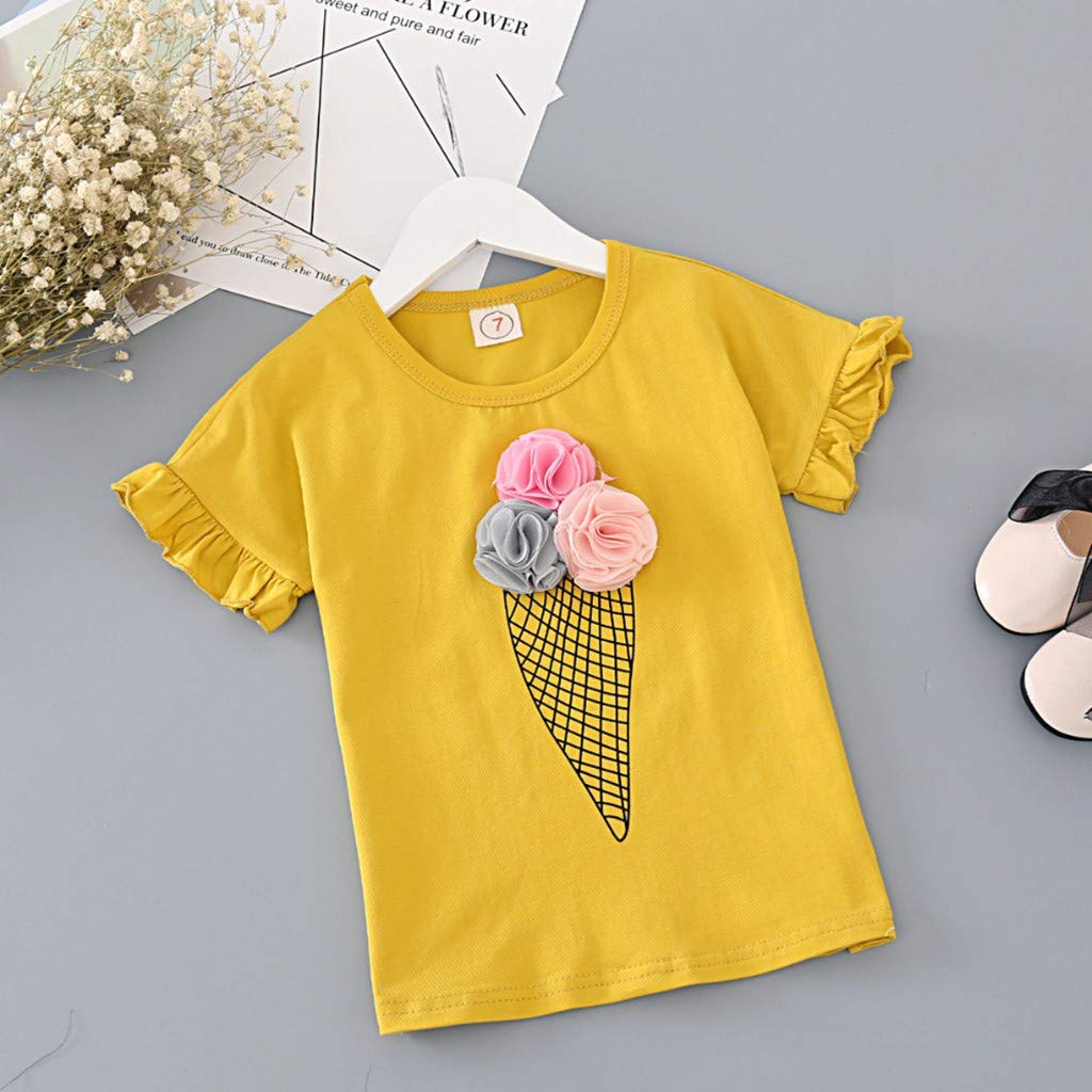 Cuekondy 2-7 Years Old Toddler Baby Girls Kids Summer Clothes Outfits Ice Cream Print Short Sleeve T-Shirt+Shorts Set