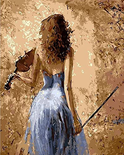 Amazon Com 16x20 Diy Sexy Long Haired Girl Plays The Violin Paint By Numbers Kits Art 30x45 Cm Beautiful Lady Scenery Acrylic Oil Painting On Canvas Frameless For Adults And Children