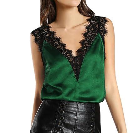 Chaleco de encaje de mujer sexy blusa mujer camiseta sin mangas de Mujeres Tank Crop Tops