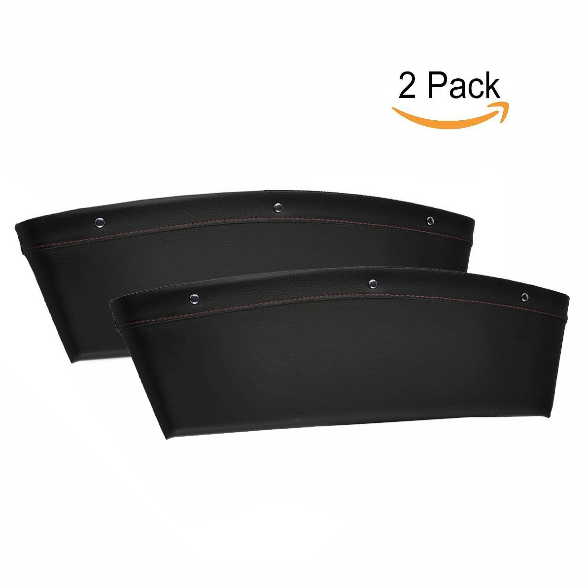 OFKP/® 2 pack Leather Car Seat Side Pocket Caddy Slit Pocket Catcher Storage Organizer Interior Car Accessories Between Seat and Console Black
