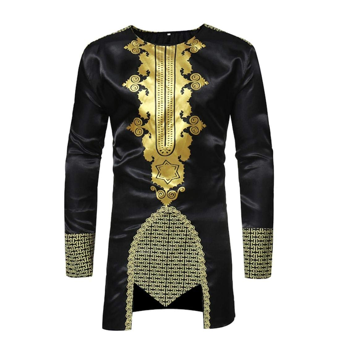Amiley Mens African Shirt,Clearance!African Dashiki Mens Traditional Hot Gold Printed Long-Sleeved Shirt