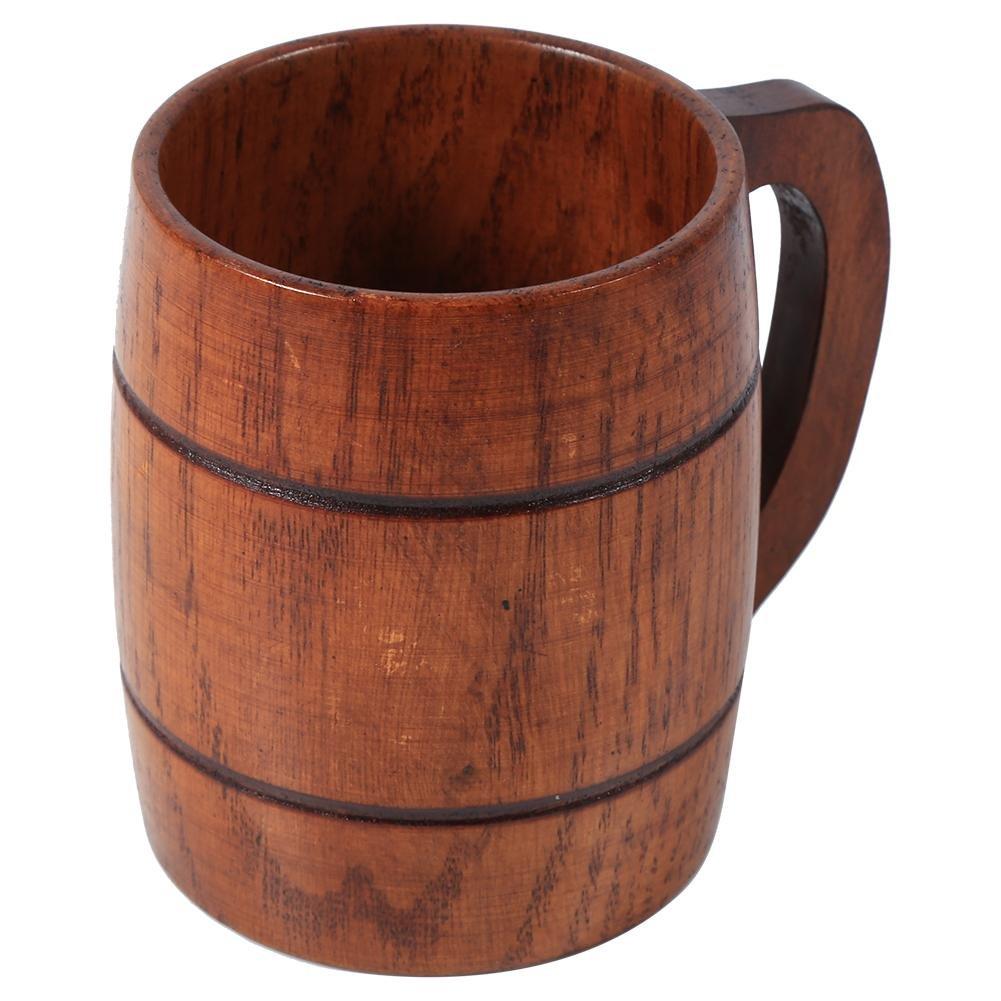 Beer Mug with Handle Wooden Drinking Cup Handmade for Wine/Coffee/Tea Beer Lover Fdit