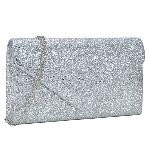 Glitter Purse - Women Clutch Handbag Glitter Frosted Evening Bag Wedding Party Cocktail Prom Clutch Purse (Silver)
