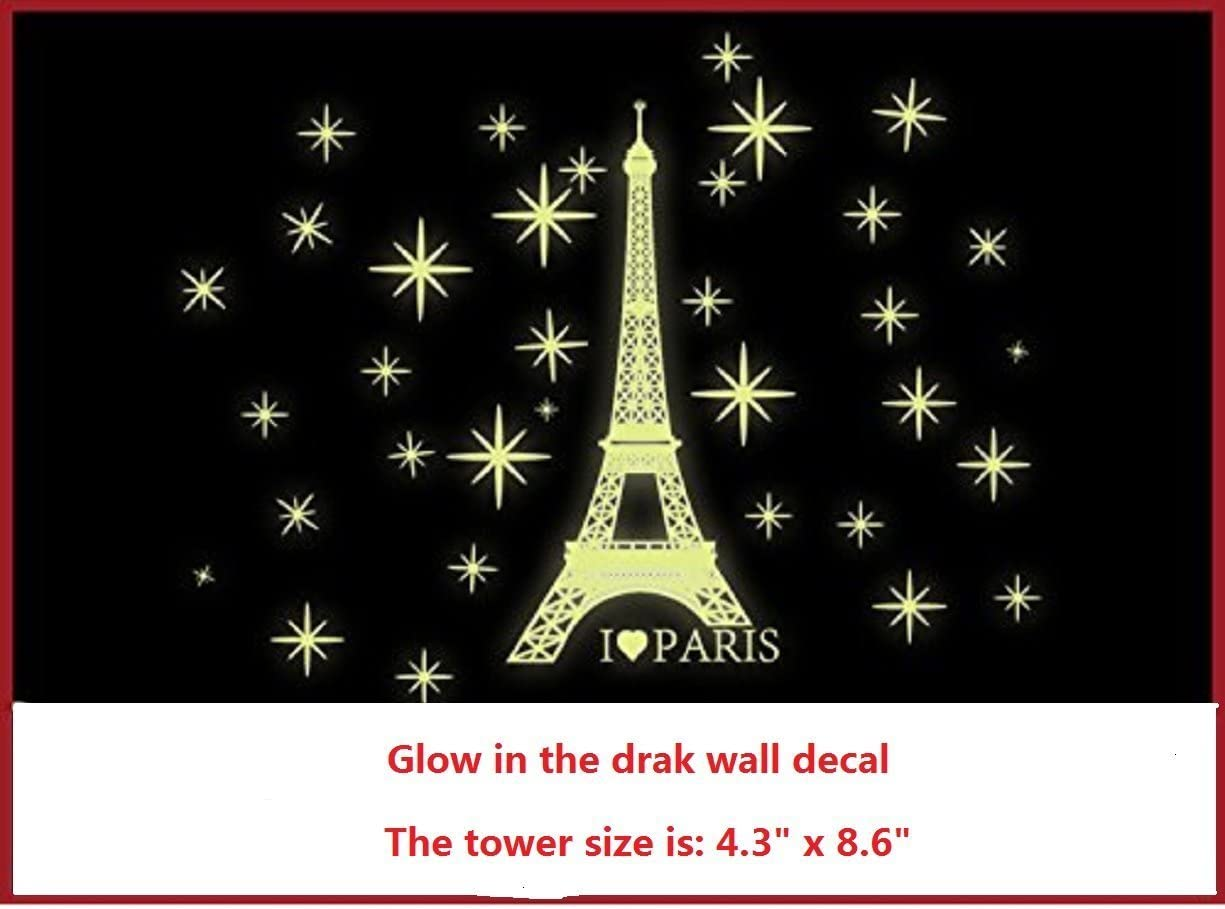 Amaonm Removable PVC Glow in The Dark I Love Paris Eiffel Tower Wall Decals Home Art Decor Noctilucent Wall Sticker Luminous Light Stars Wall Stickers for for Kids Room Bedroom Celling Decorations