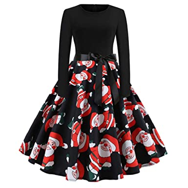 5a63784c8ea VECDY Women s Vintage Dress Print Long Sleeve Christmas Party Swing Pleated  Skirt Fashion Trend Wild Temperament