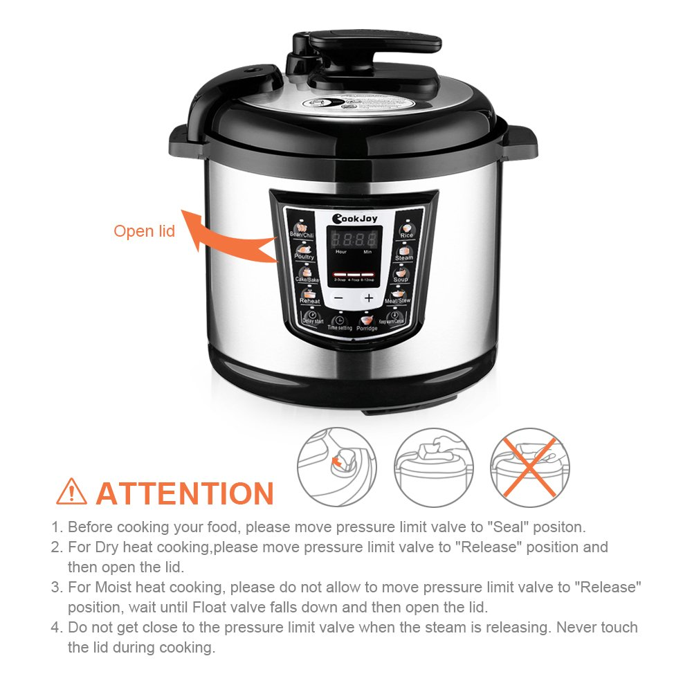 Multifunction Electric Pressure Cooker 6 Litre 8-in-1 Programmable Multi-Cooker with Stainless Steel Inner Pot by COOK JOY (Image #5)
