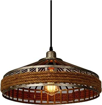 3er Set RETRO Pendel Decken Lampen Schlaf Zimmer Hanf Seil Hänge Leuchten braun