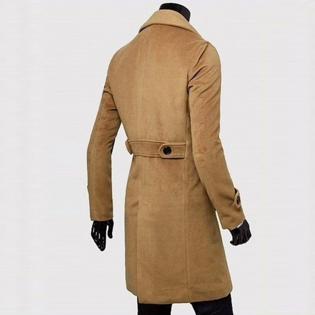 Forthery Men's Trench Coat Winter Long Jacket Double Breasted Overcoat (Khaki1, US L = Tag XL) by Forthery (Image #2)