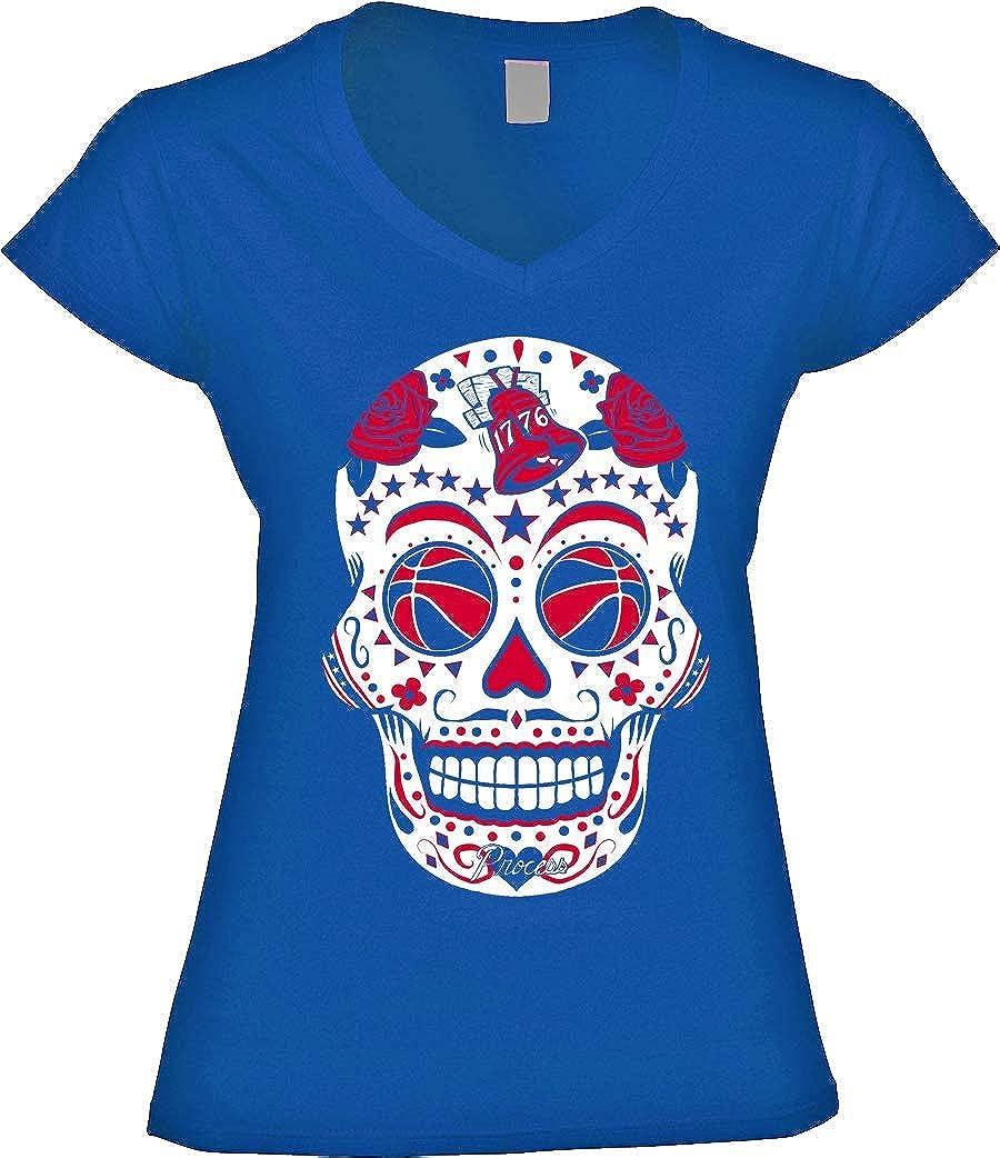America's Finest Apparel Philadelphia Basketball Sugar Skull Shirt  Women's