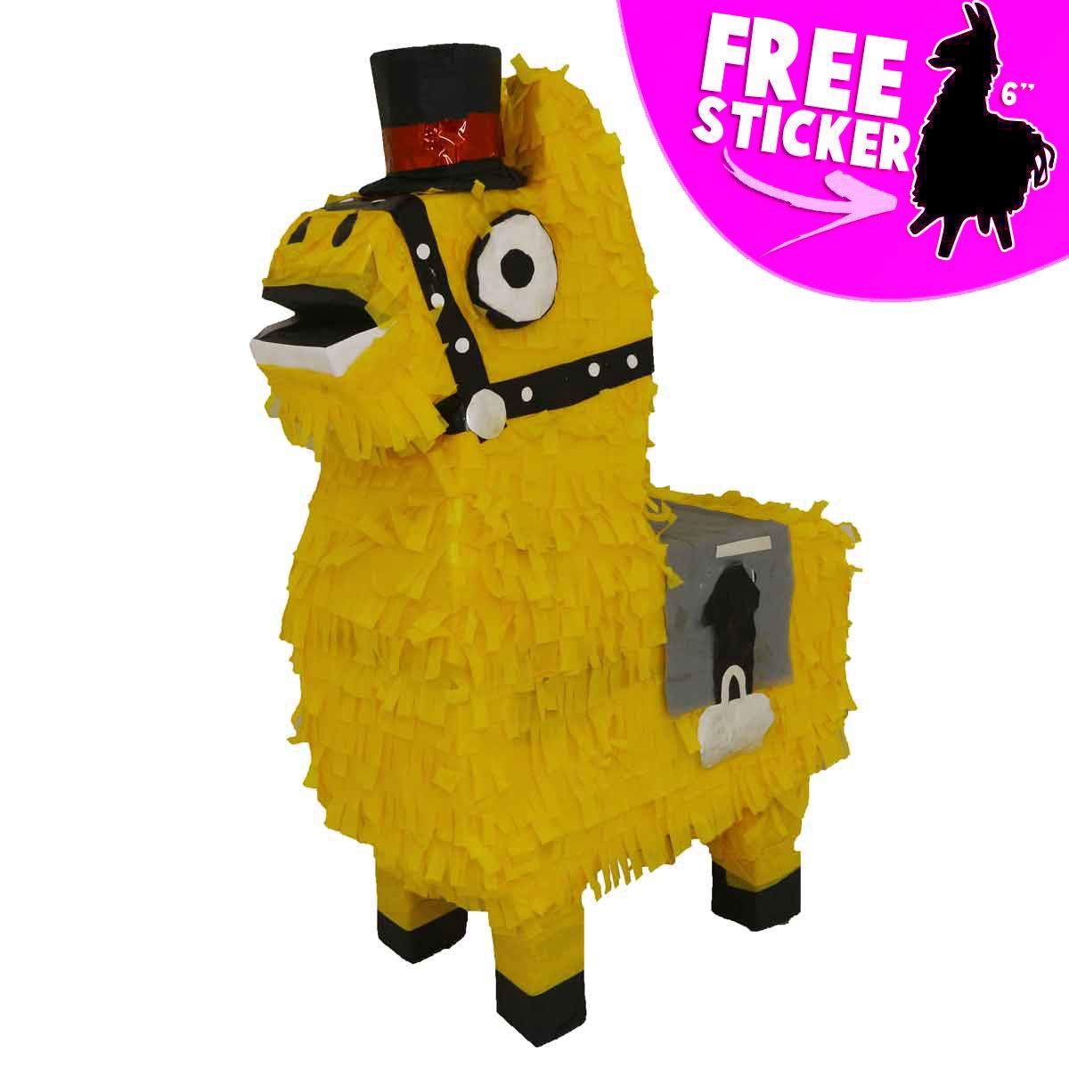 Aurabeam Loot Llama Party Pinata (Yellow Loot Llama Piñata) Party Decorations and Party Games - Hand made in Mexico