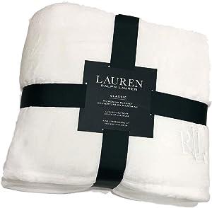 Lauren Ralph Classic Micromink Full/Queen Blanket Hollywood Cream Ivory