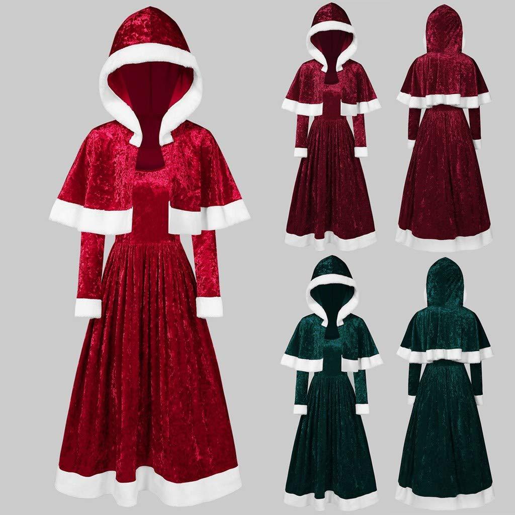 SchalWomens Frohe Weihnachten Samt Langarm O-Neck Festival Kleid und Kapuzenumhang GOKOMO Langarm Rundhals Weihnachten Samt Rock Kleid