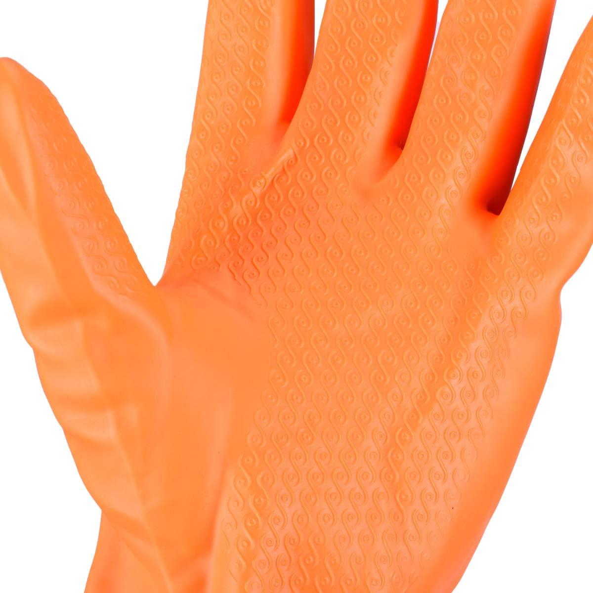 Gants de Nettoyage de M/énage R/éutilisables Ulife Mall Gants de Lavage de Vaisselle avec Doublure Gants imperm/éables Nettoyage Latex en Caoutchouc Gants pour Femme M, Orange
