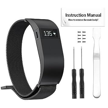 Tosenpo para Fitbit Charge HR Correas de reemplazo, Milanese Loop Pulsera de Acero Inoxidable Reloj Inteligente Pulseras con Cierre magnético único para ...