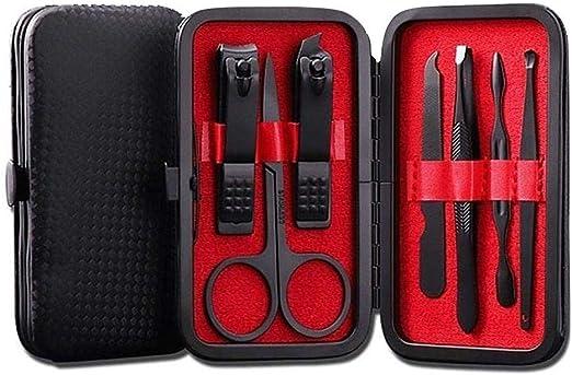 SmallPocket Kit De Manicura 7 En 1, Cortaúñas De Acero Inoxidable, Cuidado De Las Uñas con Estuche De Cuero, Kit De Belleza De Viaje para Pedicura Profesional - 12x7x2cm Rojo: Amazon.es: Hogar