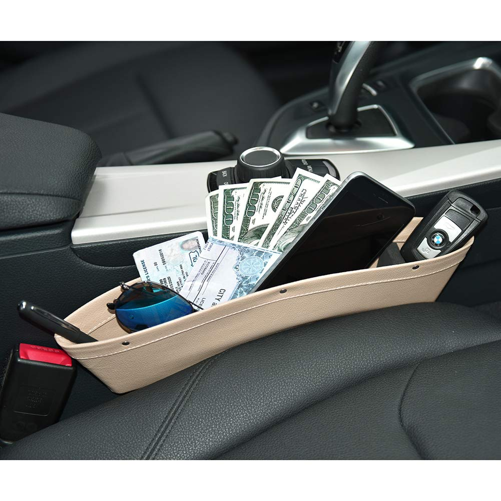 with 4 Spacer Between Seats Gap Filler to Hold Keys ALAVISXF Phone Universal Leather Car Seat Pocket Organizer 2 Pack Car Seat Gap Filler Pens Cards Coins Black