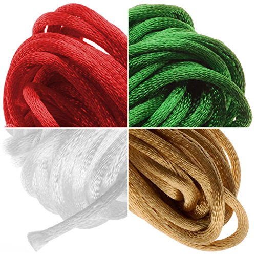 Beadaholique Satin Rattail Cord 2mm Christmas Mix 4 Color 6 Yd Ea - White, Gold, Red, Kelly Green 4336807768