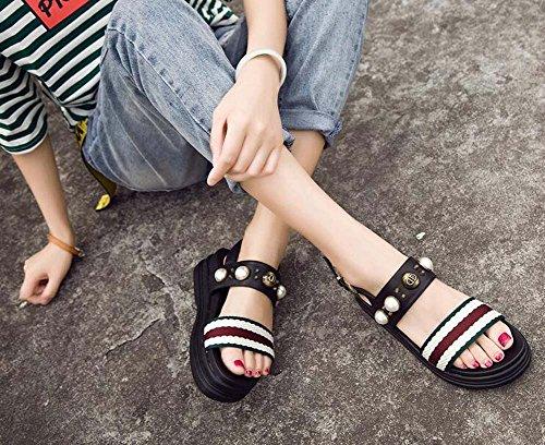 Plateau Donna Coreana Perla Neri Sandali Wild Open Taglia Versione Sandali Bianchi New 39 con Sandali 35 da Sandali Nero Toe e della qXgqwPt