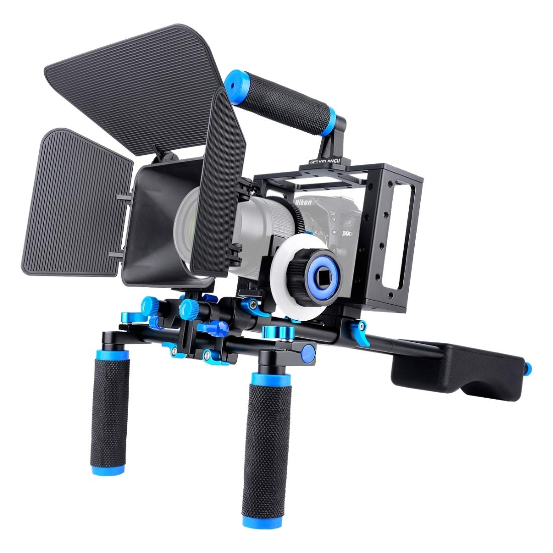 D222 デュアルハンドル カメラショルダーマウント カメラケージスタビライザーキット マットボックス付き デジタル一眼レフカメラ/ビデオカメラ用   B07LBQF1Z8
