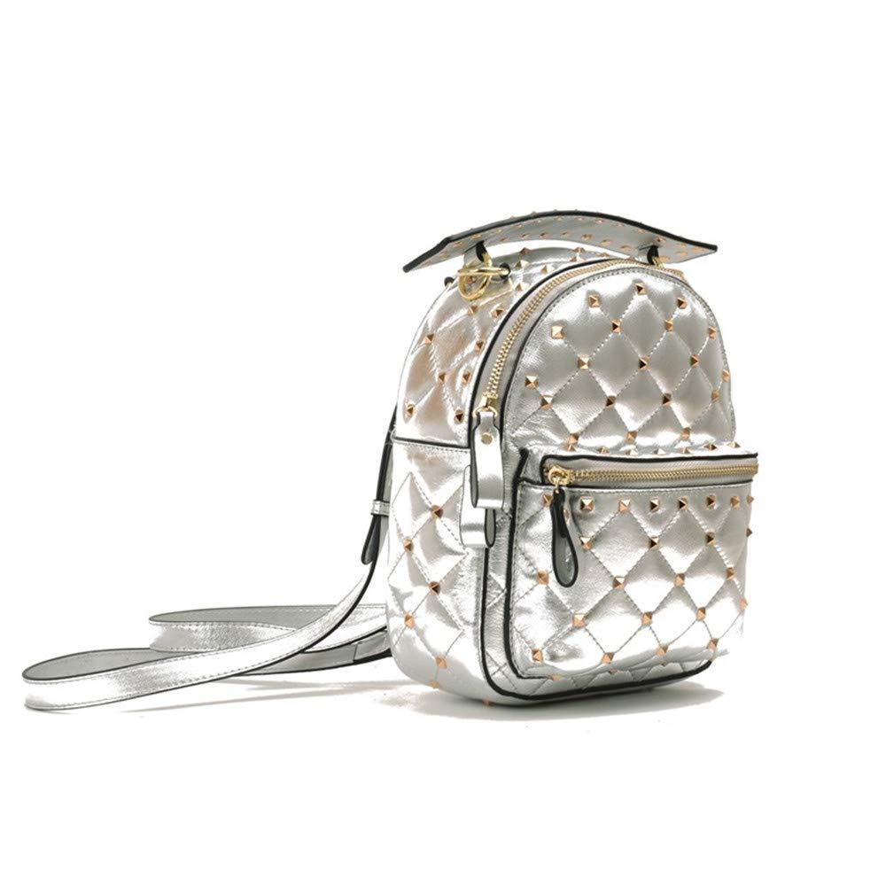 革レトロバックパックメッセンジャーバッグレディースハンドバッグ用女性複数ポケット大型レトロバックパックバッグロングストラップリベットショルダーバッグ女性用ショッピング仕事旅行 (Color : Silver)  Silver B07QHYL21Q