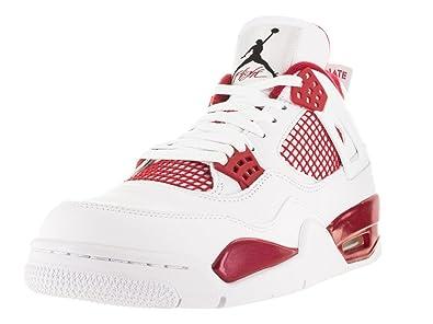 promo code 4e551 e4369 Nike Herren Air Jordan 4 Retro Fitnessschuhe, Weiß Schwarz Rot (Weiß