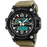 Skmei Military Series Analogue Digital Black Dial Khaki Strap Sports Watch