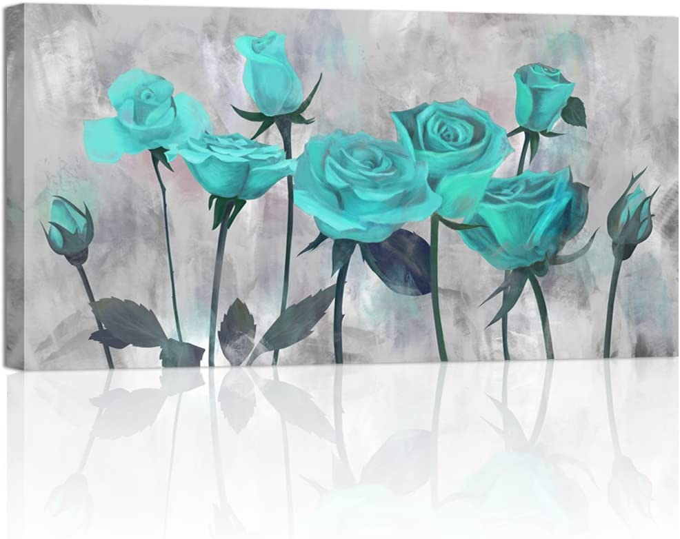 Visual Art Decor Flowers Painting Prints Antique Blooming Teal Rose on Grey Picture Printed on Canvas Wrap Floral Art Decal for Home Living Room Bedroom Wall Decoration