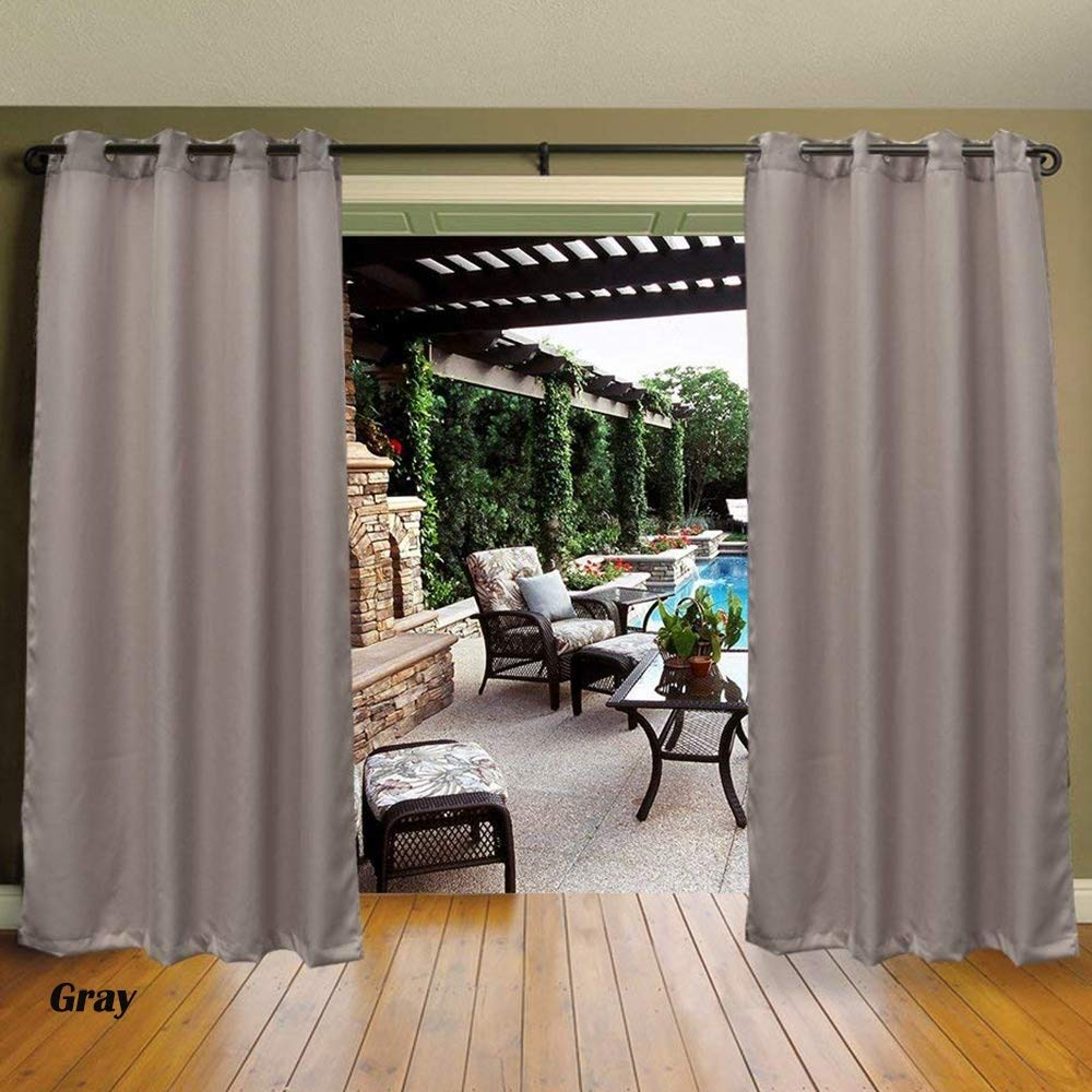 Cross Land Outdoor Shades for Patio Beach Home Thermal Insulated Gazebo Curtain/Exterior Shadesfor,Stripe,Drapes for Patio Porch Door (54''x108'', Gray)
